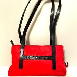 Tommy Hilfiger nylon and leather shoulder bag